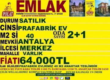 SATILIK  SIFIR PRAFABRİK EVLER POLAT EMLAK, 64.000,00 ₺